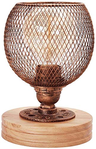 Tafellamp bureaulamp Light Retro industriële waterleiding bureaulampen, ijzer holle schaduw, nostalgisch landelijke massief hout dimbaar nachtlampje, klassieke cafe bar tentoonstellingszaal galerie de