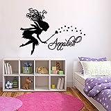 yaonuli Chica Pegatinas de Pared Nombre Personalizado Palabras niños Dormitorio decoración de Vinilo 63X88cm