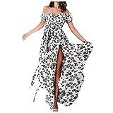 Damen Kleider Off Shoulder Chiffon Kurzarm sexy langes Kleid Geteilte Gabel A-Linie Schulterfrei Ärmellos Sommerkleid