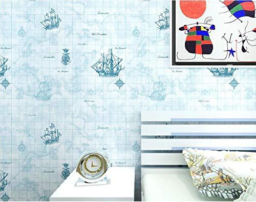 Pmhhc Mittelmeer Segeln Boys Room Schlafzimmer Weltkarte Segeln Büro Restaurant Nonwoven 3D Wallpaper