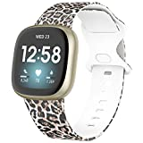 Glebo Compatible with Fitbit Versa 3 Bands for Women Men, Soft Printed Silicone Bands Waterproof Wristbands Sport Strap Accessories for Fitbit Sense Bands/Versa 3 Bands Women, Leopard/Small