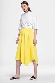 Rina Casual Mid Calf Skirt for Women, Yellow