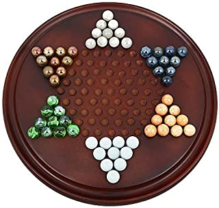 Handmade Wooden Chinese Checkers Game Set with Glass Marbles - Board Games for Families - Great Kids Gift Idea by ShalinIndia