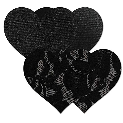 Nippies Women's Black Heart Waterproof Self Adhesive Fabric Nipple Cover Pasties (Size Large)