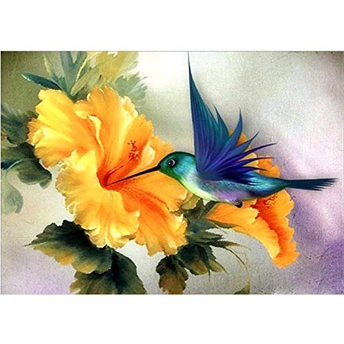 DIY 5D Round Full DrillYellow Flower Animal Bird Cross Stitch Crystal Rhinestone Embroidery Paint by NumberHome Wall Decor12inchX16inch(Frameless)