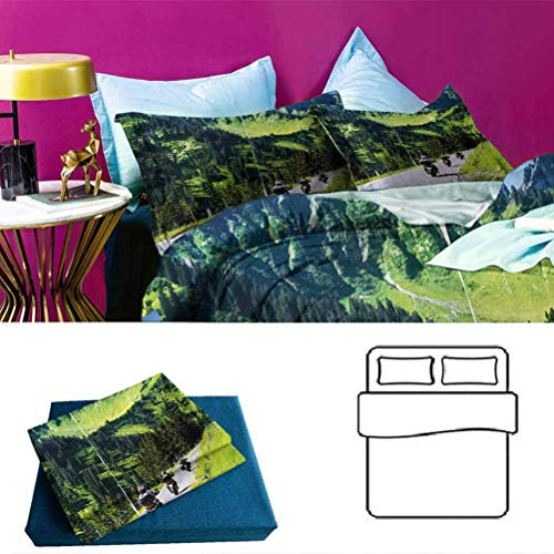 Adorise Duvet Cover Set Bike Riders on Mountain Modern Lightweight Coverlet Quilt Set Brightened Up The Room - Queen Size