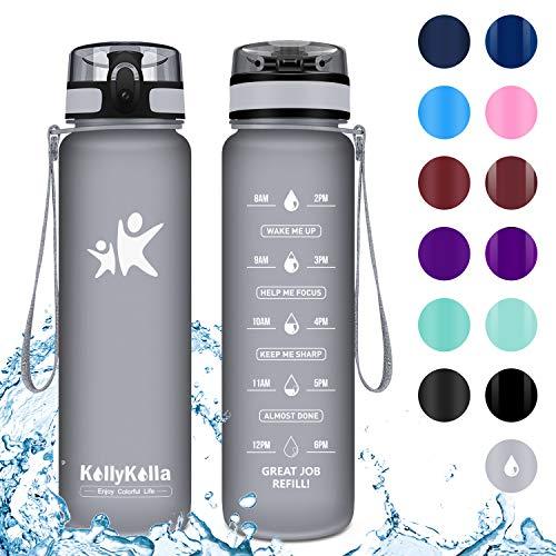 KollyKolla Botella Agua Sin BPA Deportes -  500ml,  Reutilizables Ecológica Tritan Plástico,  Bebidas Botellas con Filtro & Marcador de Tiempo,  para Colegio,  Tapa Abatible de 1 Clic,  Gris Mate