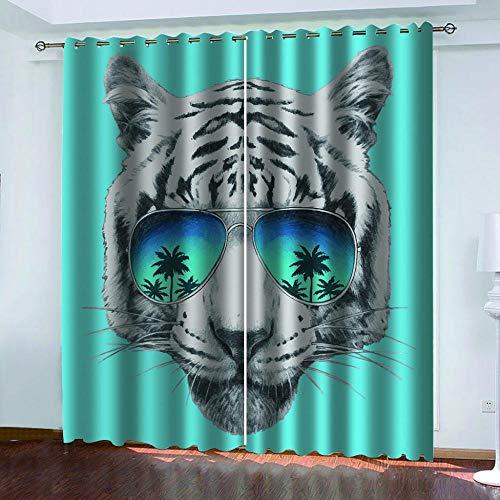 Ageeseso Opacas Cortinas 3D Tigre Animal con Gafas de Sol Super Soft Térmica Aislante Cortinas Poliéster Adecuado Balcon Salón Habitación Mono Dormitorio Modernos Cortinas 2 x 220(W) x215(H) cm Niño