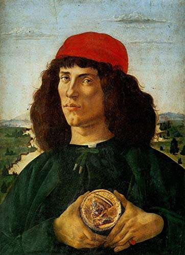 Famous Paintings by Botticelli Portrait of a Man with a Medal of Cosimo The Elder DIY Oil Painting Paint by Number Kits Painting for Adults and Kids Arts Craft for Home Wall Decor-