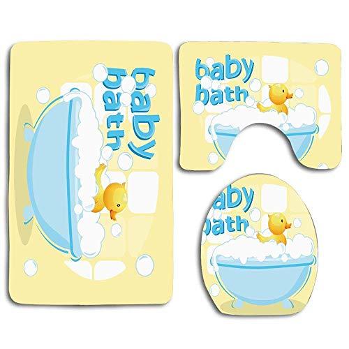 Not Applicable Gummi Entlein schwimmt in freistehender Badewanne gefüllt mit Blasen Baby Bad Spielzeug 3 PCS Bad Teppich Set Bad Kontur Matte Toilettendeckel Abdeckung U-förmig rutschfest