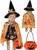 Tacobear Ropa de Muñeca y Accesorios Vestido de Muñeca Zapatos Sombrero de Bruja Capa Bolsa de Dulces de Calabaza Muñeca Disfraz Halloween para Muñecas 46cm