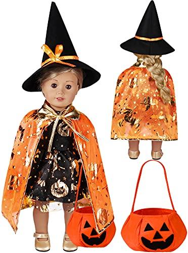 Tacobear Halloween Puppenkleidung Puppen Kleider Puppenschuhe Hexe Hut Puppe Umhang Kostüm Set für 18 Inch Puppen mit Halloween Kürbis Handtasche Geschenktasche Puppen Zubehör