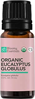 Bloomy Essentials Organic Eucalyptus Globulus Essential Oil 10 mL - USDA Certified Organic - Aromatherapy for Clear Breath...