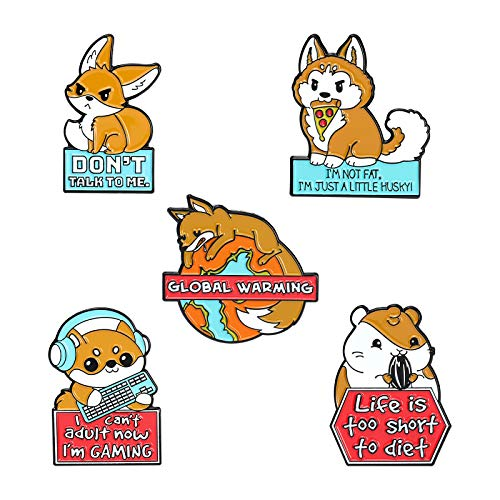 Cartoon Animals Enamel Pins, Cute Dog Fox Squirrel Lapel Pin Set for Backpack Clothing Funny Slogan Enamel Badge Brooches for Kids Girls