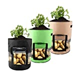 Pumpumly 3PCS 7Gallon/10Gallon Transparent Planting Bags Potato Planter Pot Portable Black Carrots Onions Gardening Supplies with Light-Proof Insulation Cover,Green,Brown,Black