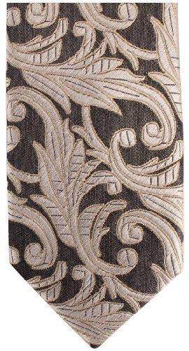 Knightsbridge Neckwear SIlver Floral Silk Skinny cravate de