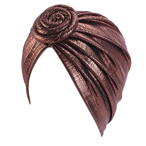 RK-HYTQWR Muslim Spiral Knot Blumenturban Kappe Glänzende Metallic Plissee Headwrap Chemo Hut, Bronze Pan Flower Knotted Beanie, Bronze