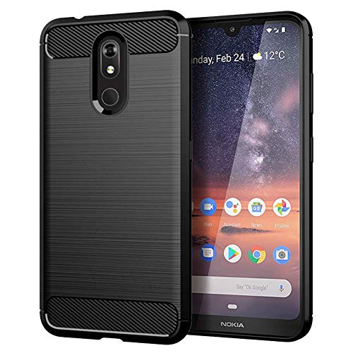 Toppix kompatibel für Nokia 3.2 (2019) Hülle, Handyhülle TPU Silikon Soft Hülle Stoßfest [Carbon Fibre Texture] Cover Schutzhülle für Nokia 3.2 (Schwarz)