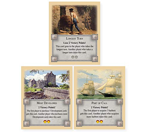 Longest Turn, Most Developed and Port of Call Bonus Cards an Unofficial Expansion Compatible with Settlers of Catan, Cities and Knights, Traders and Barbarians, Seafarers, 5-6 Player Catan Extensions