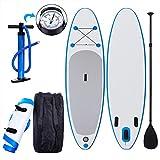 Profun Tabla Hinchable Paddle Surf Tabla de Surf Sup Set Stand Up Paddle Surf Board de 305CM*76CM*15CM con Paddle Ajustable+Bomba de Aire+Remo+Mochila (Tipo5 Azul)