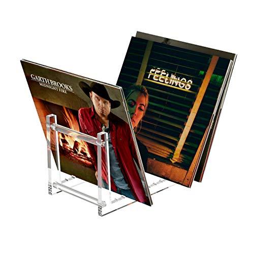 HIIMIEI Schallplatten Aufbewahrung, Acyrl Abnehmbar Schallplattenständer | Schallplattenregal mit 12 rutschfeste Rillen für 50 Vinyl-Schallplatten LPs Zeitschrift |13.7x6.65x7.5 inch- Klar