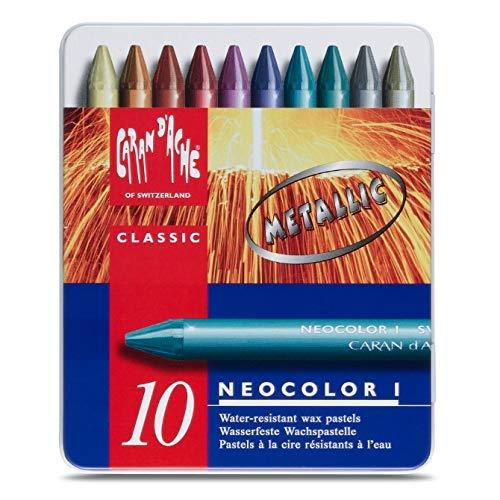 Caran D'Ache Giz Pastel Oleoso Neocolor I 10 Cores Metálicas, 10 Cores Metalicas