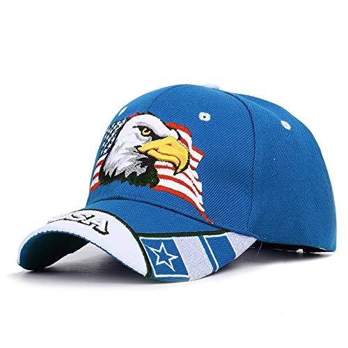 WAZHX Nuevo Sombrero De Camionero De Animales para Hombres, Gorra De Béisbol con Águila Calva Patriótica Y Bandera Estadounidense, Bordado En 3D De EE. UU, Azul-1