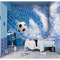 Iusasdz 写真の壁紙3Dフットボールシリーズの壁紙スタジアムKtvテーマホテルのリビングルームの装飾白いフットボールのドアの壁紙壁画-200X140Cm