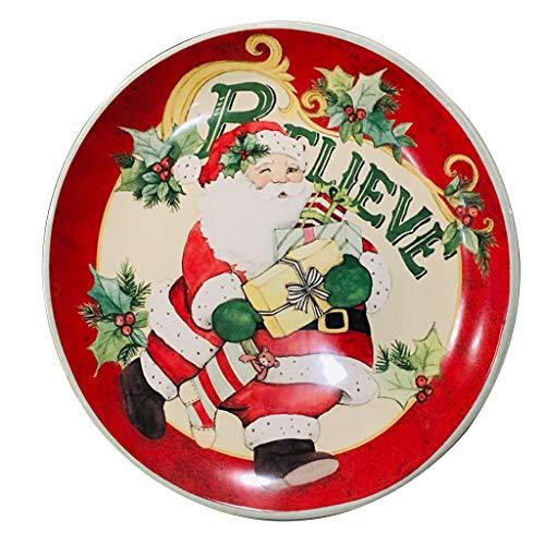 platos De Carne De Cerámica De Regalo De Papá Noel De 10 Pulgadas Ensalada De Frutas, Bistec De Ramen Comida Occidental con Calentamiento por Microondas (Color : Red, Size : 10inches)