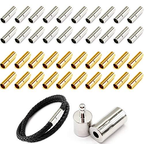 Cierres de Pulsera Fiyuer 40 Pcs cierre de acero Hebilla de pulsera inoxidable Abalorios mosquetones para joyería Collar Pulsera (4mm)