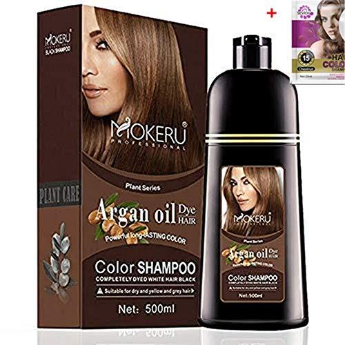 Natural Organic Permanent Brown Hair Dye Long Lasting Argan Oil Hair Dye Shampoo (Dark Brown)