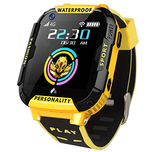 GreaSmart 4G LTE Kids Smart Watch Phone- Waterproof WiFi GPS Tracker Wrist Watch for Boys Girls Toddler Kids Smartwatch with Pedometer Camera SOS Call Video Chat Touch Screen Birthday Gifts (Yellow)