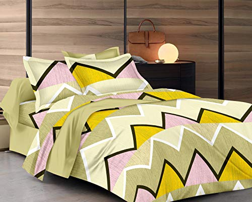 RADANYA Cotton Printed Double Bedsheet with 2 Pillow Covers,Yellow