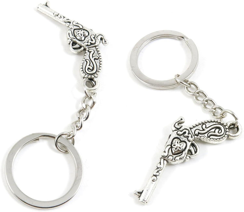 10 PCS Pistol Gun Keychain Keyring Jewelry Making Charms Door Car Key Tag Chain Ring A7NJ7D