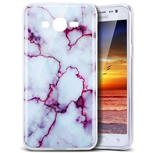 Galaxy Grand Prime Case, PHEZEN IMD Purple Marble Pattern IMD Design Cute Creative Anti-Scratch Bumper Ultra Slim TPU Soft Case Rubber Silicone Skin Cover for Samsung Galaxy Grand Prime
