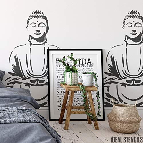 Buddha Meditieren Schablone | Art Decor & Basteln Schablone | Farbe Leinwand Kunst, Wände, Stoffe, Möbel | Verschiedene Größen Optionen | Wiederverwendbar Stencil By Ideal Stencils | - XS/ 11X11CM