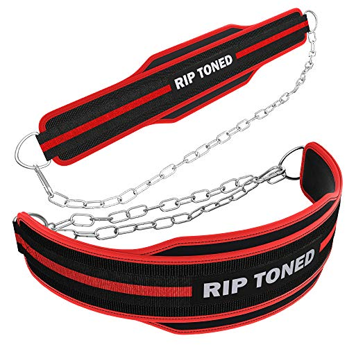 "Rip Toned Dip Belt with Chain | Built for Pullups, Weight Lifting, Dips, Squats & More - Ultra-Strong Neoprene Belt with 36"" Heavy Duty Steel Chain - Ready for Your Toughest Workouts"
