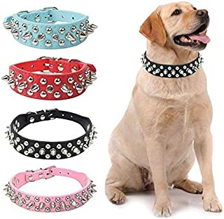 PETCARE Mushrooms Spiked Rivet Dog Collar Studded Pu Leather Adjustable Puppy Collars for Small Medium Dogs
