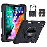 GROLEOA iPad Pro 12.9 Case 2021/2020 with Apple Pencil Holder,Rotating Kickstand Hand Shoulder Strap Heavy Duty Rugged Shockproof Protective Case for iPad Pro 12.9 4th/5th Generation,Black