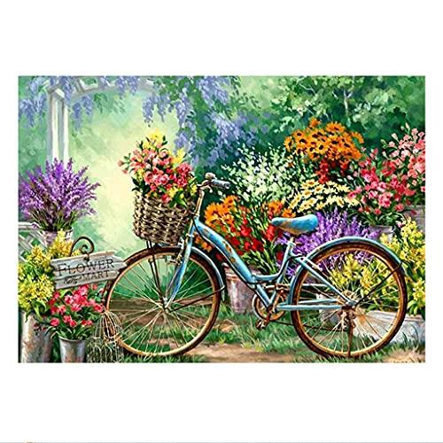 5D DIY Diamant Peinture Kit de Numéro,Fleur bicyclette Plein Rond Perceuse Broderie Point De Croix Kits,Canevas Diamond Painting Strass Complet Art Salon Chambre Décor 50x40cm