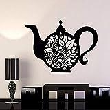 Vintage Home Decor Kitchen Electric Kettle Teapot Tea Art Flower Vinyl Wall Sticker
