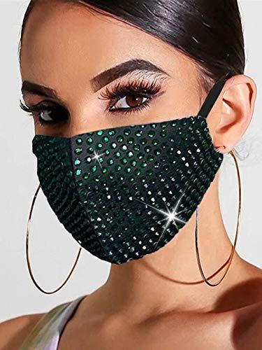 Handcess Máscara de Malla de Cristal Brillante con Purpurina y Diamantes de imitación para Baile de máscaras, máscaras faciales para Discoteca, Accesorio