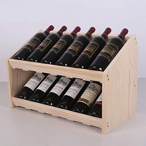 HJXSXHZ366 Estantería de Vino Bastidores de Almacenamiento de Botellas de Vino Bar Salón de Dobles sólidas con Estructura de Madera, Tres Colores, Tres tamaños Opcionales Estante de Vino pequeño
