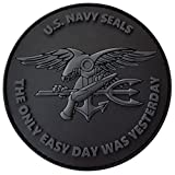 LEGEEON All Black ACU US Navy Seals The Only Easy Day was Yesterday DEVGRU Subdued Morale PVC Fastener Patch