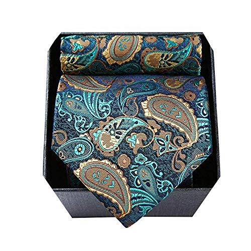 HISDERN Corbata para Hombre Conjunto de Caja de Regalo Floral Paisley Corbata Classic Conjunto de corbata y bolsillo cuadrado