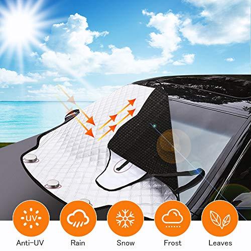 DTNO.I Protector para Parabrisas, Protector de Parabrisas Protección UV, Cubierta de Parabrisas Protección Contra el Hielo para Coche se Adapta a la Mayoría de los Coches (183 × 116 CM)