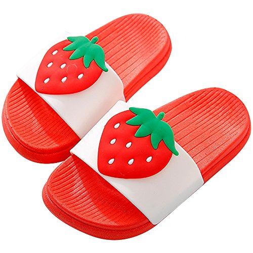 Junge Mädchen Strand Rutschen Hausschuhe Sandalen Damen Herren Sommer Indoor Badezimmer Hausschuhe für Familie(Rot Erdbeere,25/26)