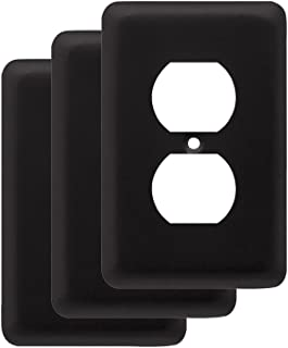 Franklin Brass W10249V-FB-C Stamped Round Single Duplex Outlet Wall Plate / Switch Plate / Cover, Flat Black, 3-Pack