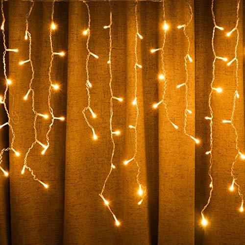 Solar-Lichterkette, 8 Modi, Weihnachtsbeleuchtung für Schlafzimmer, Terrasse, Hof, Garten, Hochzeit, Party, Außen- und Innenbereich, Wanddekoration (11 m, 264 LEDs, Warmweiß)