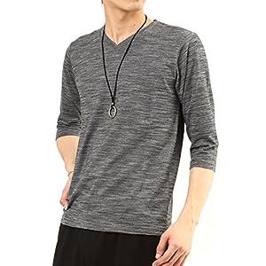 (アーケード) ARCADE メンズ カットソー スラブボーダー 7分袖 Vネック Tシャツ LL ブラック(7分袖)